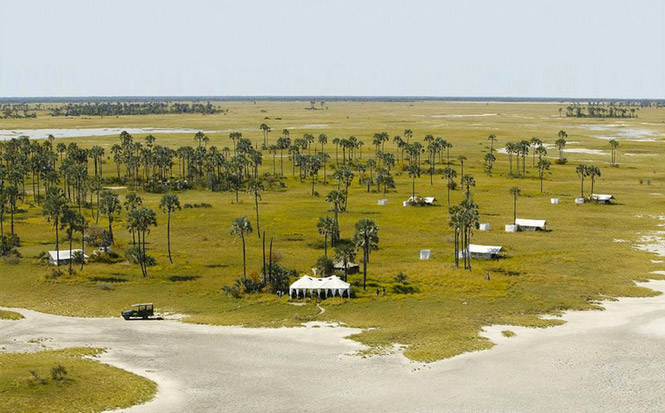 Jack's Camp in the Makgadikgadi - clearly see where the water dried up